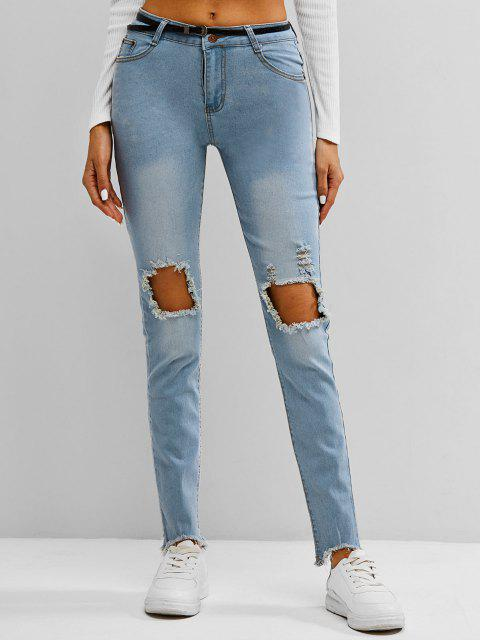 women Faded Frayed Destroyed Skinny Jeans - LIGHT BLUE M Mobile