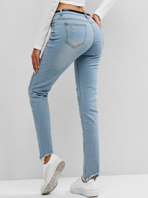 fashion Faded Frayed Destroyed Skinny Jeans - LIGHT BLUE XL Mobile