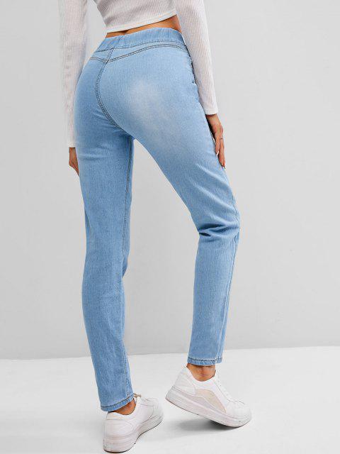 unique Pockets Light Wash Skinny Jeans - LIGHT BLUE S Mobile