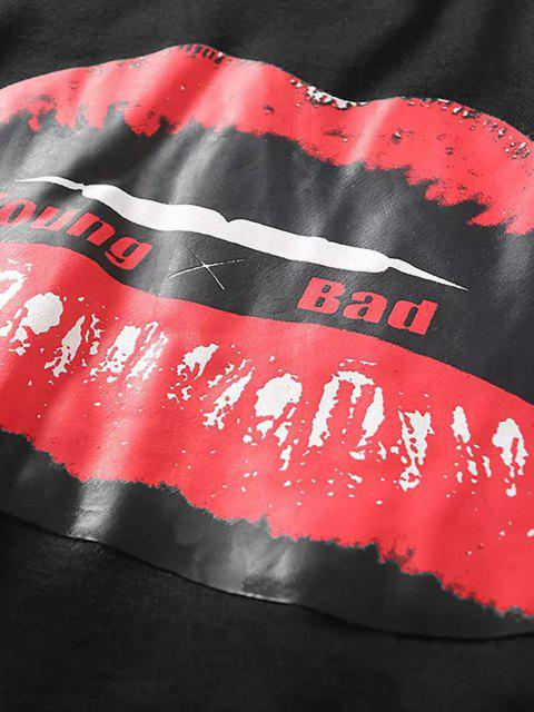 lady Lip Letter Graphic Raw Hem Crop Sweatshirt - BLACK M Mobile
