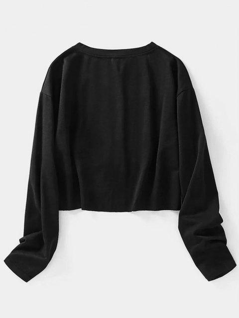 Lip Letter Graphic Raw Hem Crop Sweatshirt - أسود M Mobile