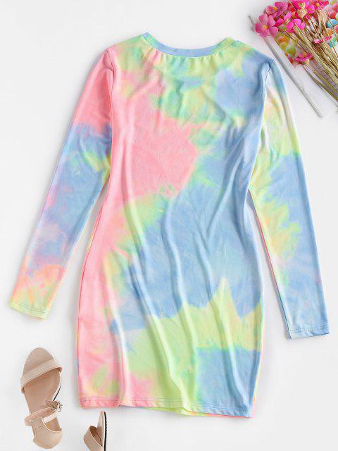 sale ZAFUL Tie Dye Long Sleeve Bodycon Dress - MULTI-A S Mobile