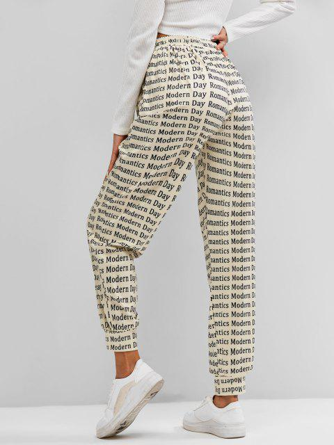 shop Letters Print Jogger Pants - LIGHT COFFEE XL Mobile