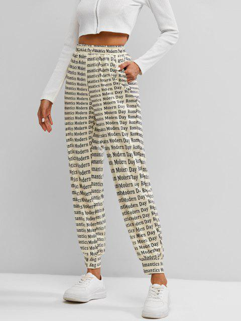 affordable Letters Print Jogger Pants - LIGHT COFFEE L Mobile