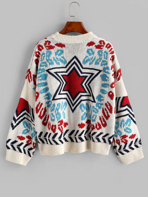 ゆったりスターグラフィッククルーネックセーター - 白 ワンサイズ Mobile