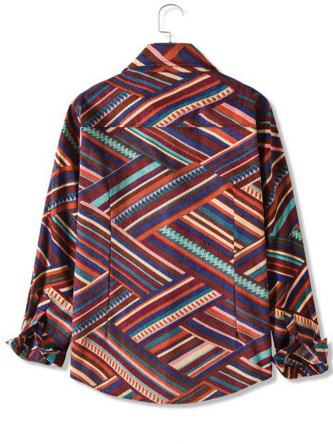 womens Zigzag Striped Pocket Casual Corduroy Shirt - RED M Mobile