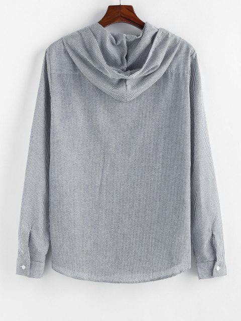 women's ZAFUL Striped Print Long Sleeve Hooded Shirt - GRAY S Mobile