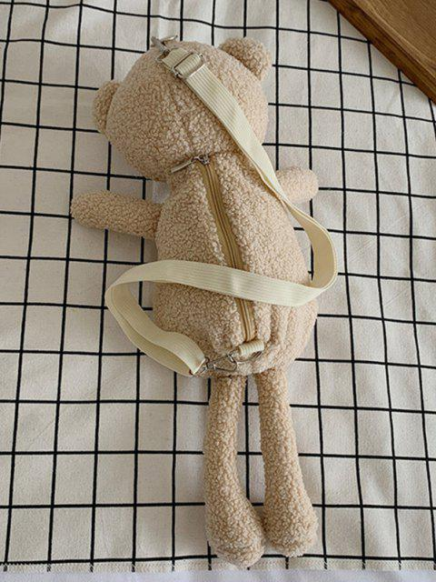 fashion Cute Plushy Bear Doll Sling Bag - LIGHT COFFEE  Mobile