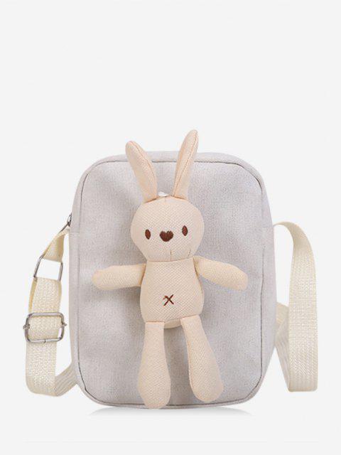 women's Cute Rabbit Doll Mini Canvas Crossbody Bag - WHITE  Mobile