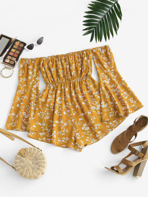 unique ZAFUL Floral Flare Sleeve Off Shoulder Wide Leg Romper - DEEP YELLOW M Mobile