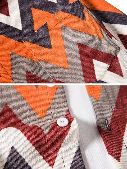sale Pocket Zigzag Pattern Casual Corduroy Shirt - TIGER ORANGE L Mobile