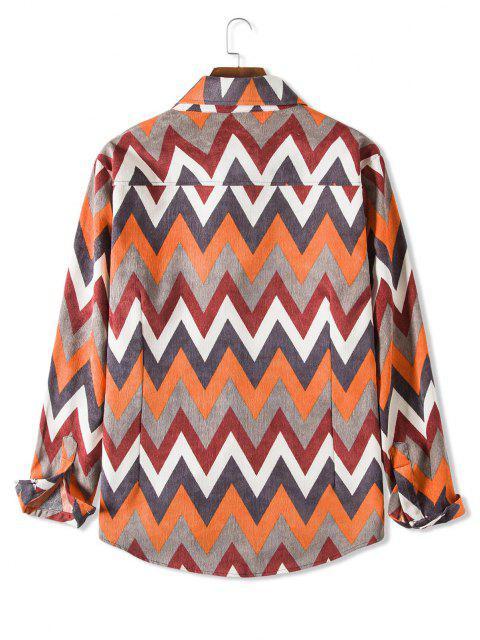 ポケットジップ柄カジュアルコーデュロイシャツ - タイガーオレンジ L Mobile