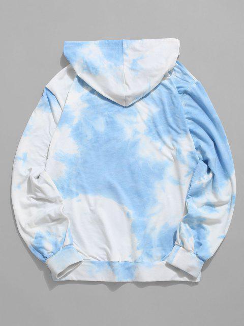 Sweat à Capuche Teinté Soleil Imprimé avec Poche Kangourou - Bleu clair 2XL Mobile