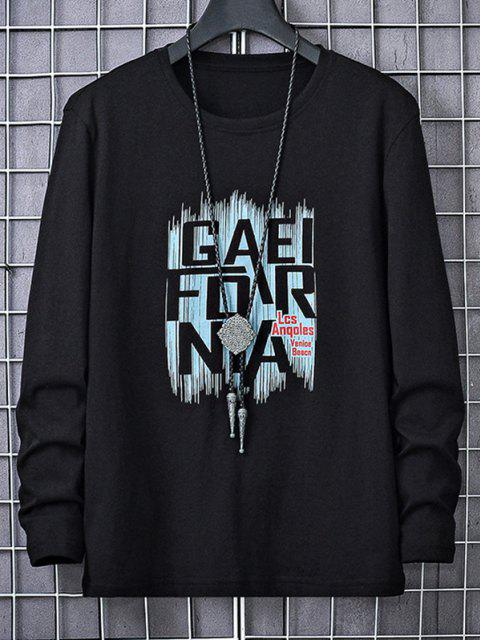 hot Letters Graphic Print Long Sleeve T-shirt - BLACK M Mobile