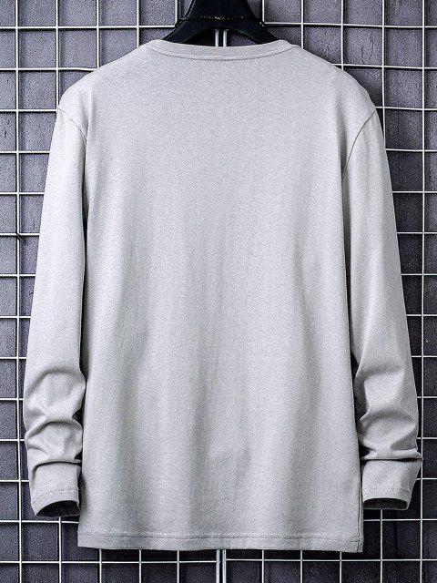 Camiseta con Estampado Gráfico de Letras - Gris XS Mobile