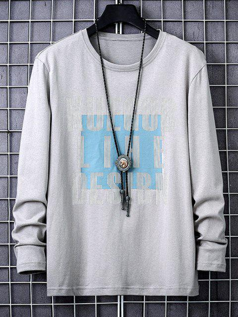 latest Letters Graphic Print Long Sleeve Casual T-shirt - GRAY XS Mobile