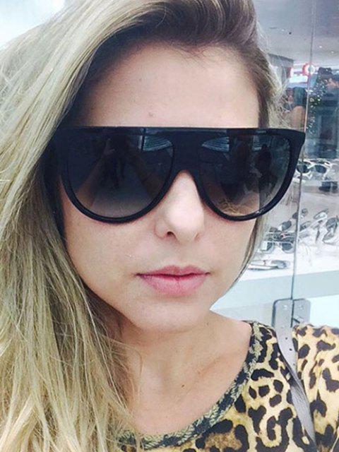 chic Brief Semicircle Oversized Sunglasses - BLACK  Mobile