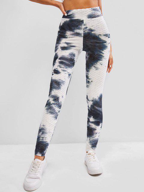 shops ZAFUL Tie Dye Textured High Waisted Gym Leggings - MULTI XL Mobile