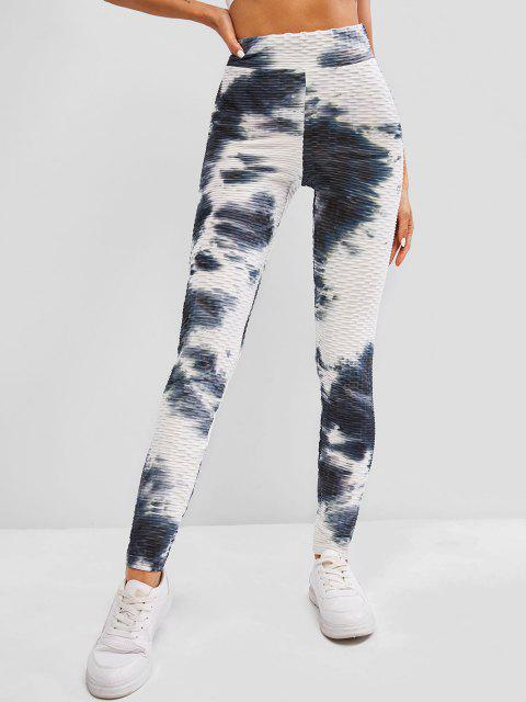 best ZAFUL Tie Dye Textured High Waisted Gym Leggings - MULTI S Mobile