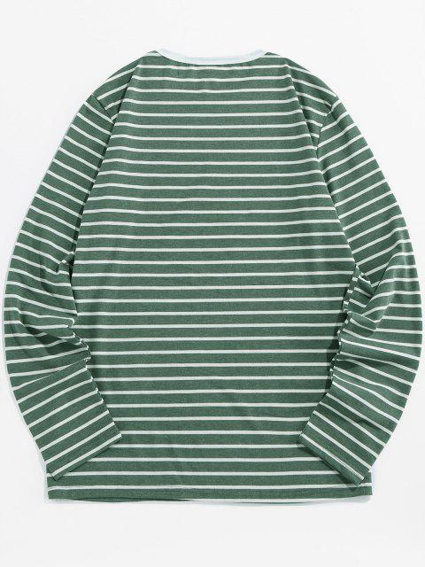 shop ZAFUL Number Embroidery Striped Long Sleeve T-shirt - GREEN S Mobile