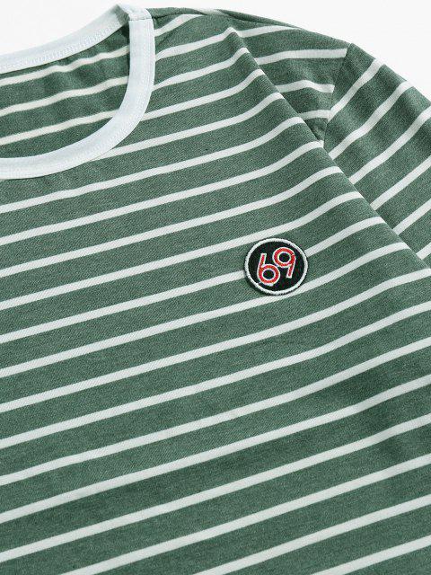 ZAFUL T-shirt de Manga Comprida com Bordado Listrado - Verde 2XL Mobile