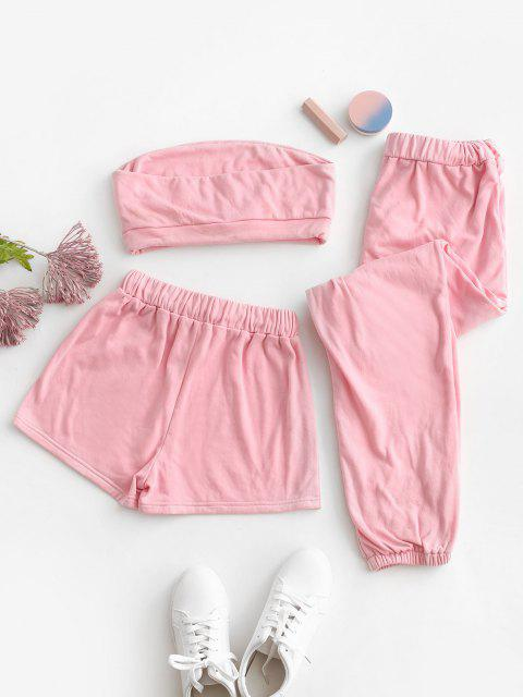 buy Strapless Drawstring Active Three Piece Set - LIGHT PINK M Mobile