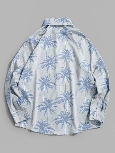 affordable Beach Printed Button Up Turn-down Collar Shirt - BLUE IVY 2XL Mobile