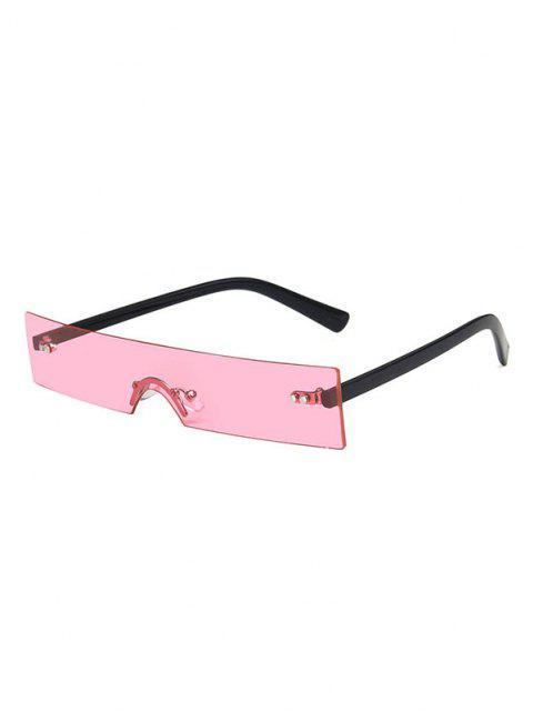 chic Narrow Rectangle Rimless Sunglasses - PINK  Mobile