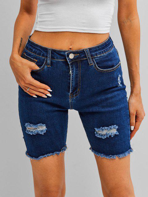 lady ZAFUL Frayed Ripped Denim Shorts - DEEP BLUE S Mobile