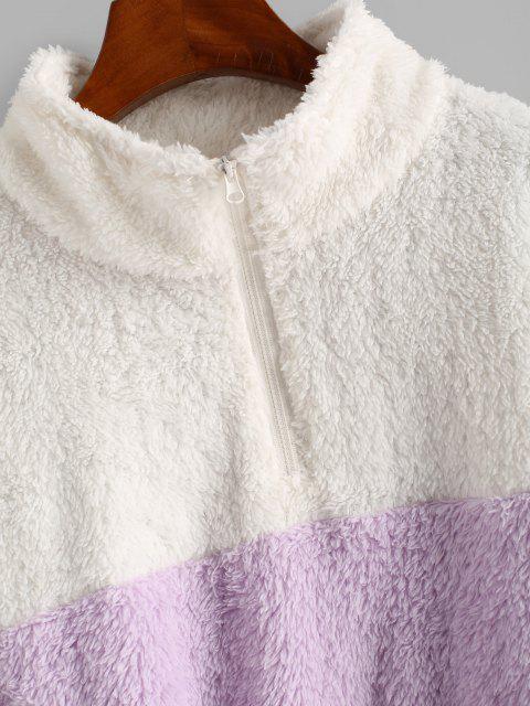 shop Half Zip Two Tone Fluffy Sweatshirt - LIGHT PURPLE S Mobile