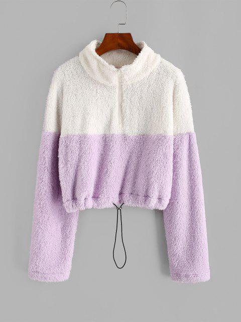 latest Half Zip Two Tone Fluffy Sweatshirt - LIGHT PURPLE M Mobile