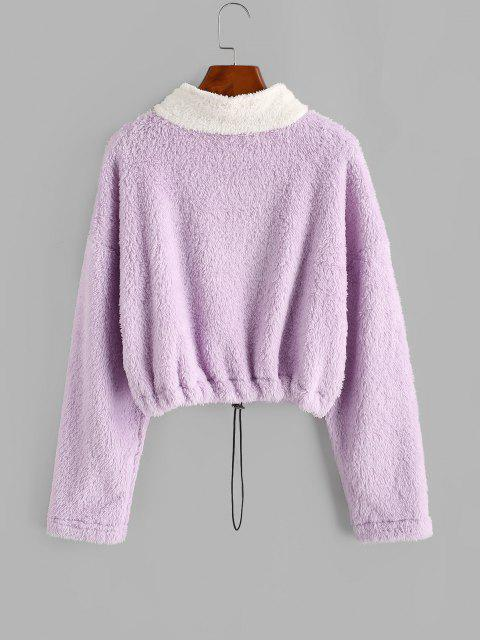 Half Zip Two Tone Fluffy Sweatshirt - ضوء ارجواني L Mobile