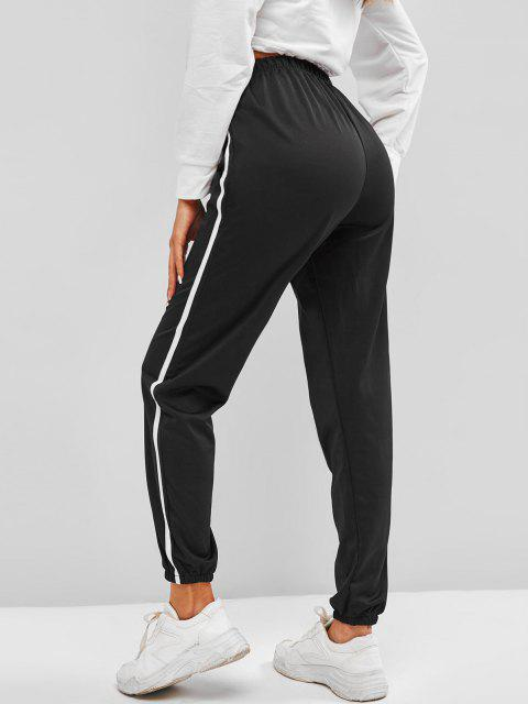 unique Contrast Side Tie Detail Jogger Pants - BLACK M Mobile