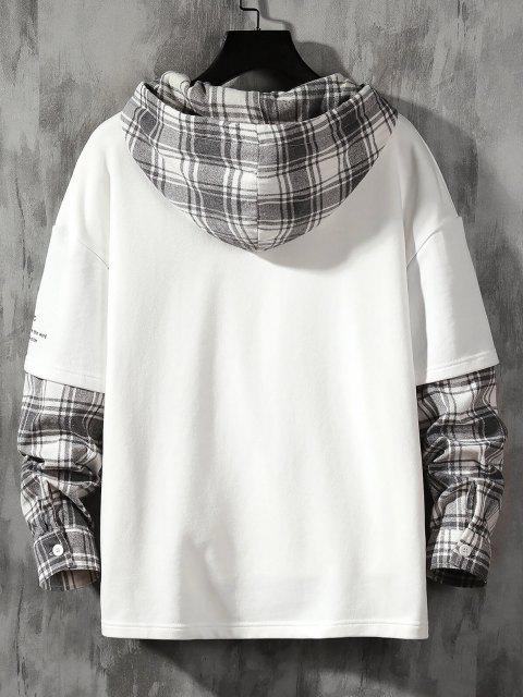 new Letter Print Plaid Faux Twinset Hoodie - WHITE M Mobile