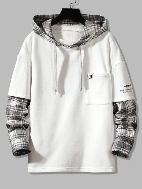 trendy Letter Print Plaid Faux Twinset Hoodie - WHITE S Mobile