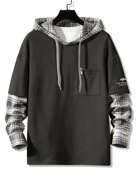 outfits Letter Print Plaid Faux Twinset Hoodie - DARK GRAY XS Mobile