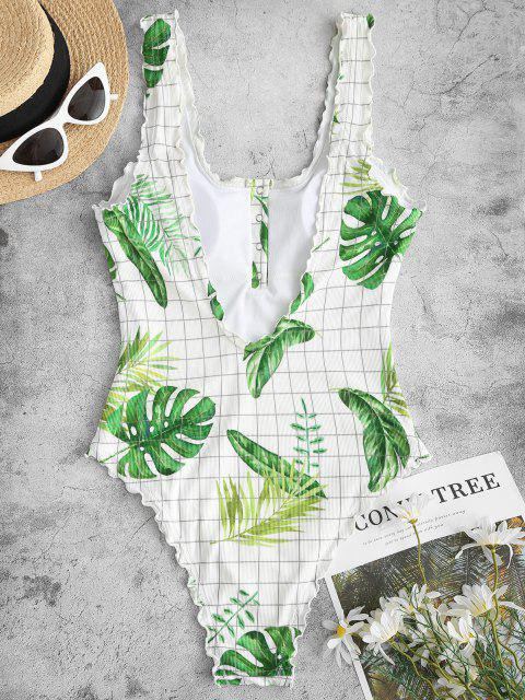 ladies ZAFUL Palm Ribbed Snap Button Backless One-piece Swimsuit - MULTI M Mobile