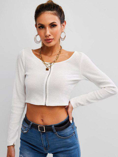 ladies Ribbed Zip Front Crop Cardigan - WHITE L Mobile