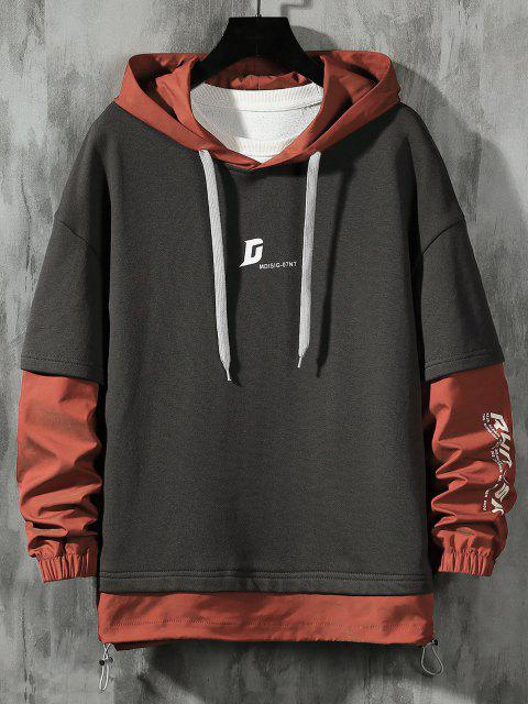 latest Letter Print Faux Twinset Hoodie - DARK GRAY XL Mobile