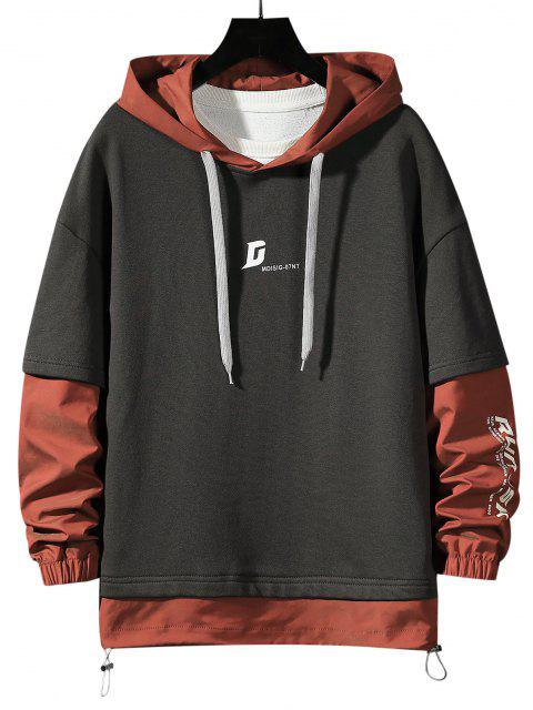 latest Letter Print Faux Twinset Hoodie - DARK GRAY L Mobile