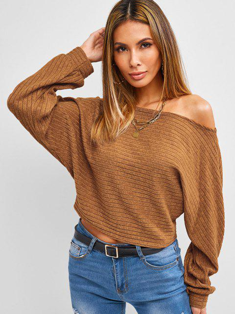 ZAFUL Fledermaus Ärmel Crop Strickjacke - Kaffee M Mobile