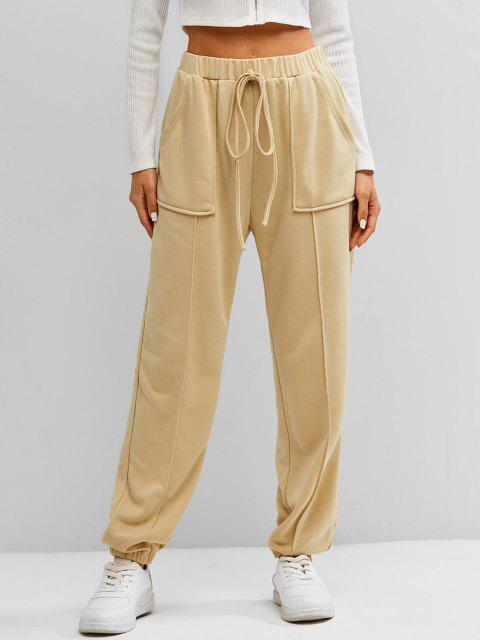 ZAFUL Braid Jogger Hose mit Hoher Taille - Aprikose XL Mobile