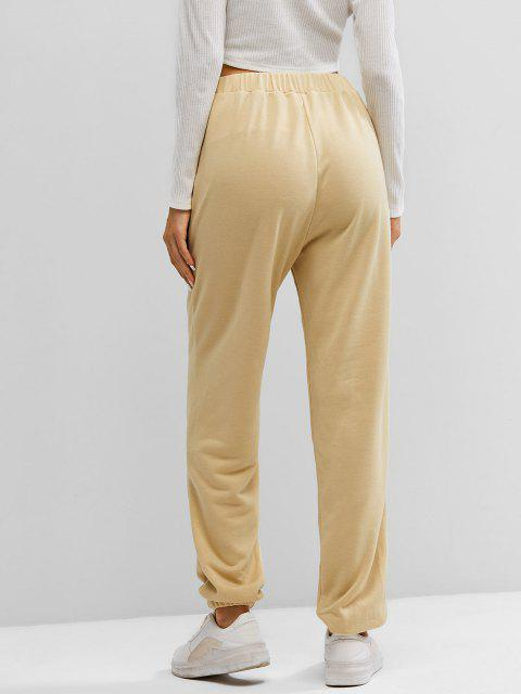 hot ZAFUL High Waisted Pintuck Jogger Pants - APRICOT XL Mobile