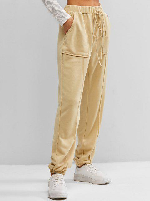 ZAFUL Braid Jogger Hose mit Hoher Taille - Aprikose L Mobile