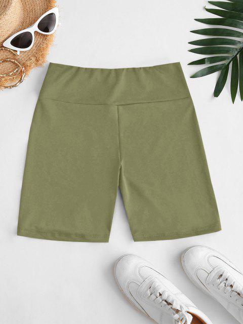 ladies High Waisted Plain Shorts Leggings - LIGHT GREEN L Mobile