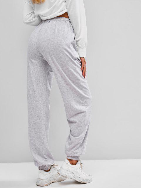 ladies ZAFUL Drawstring Pintuck Sweatpants - PLATINUM L Mobile