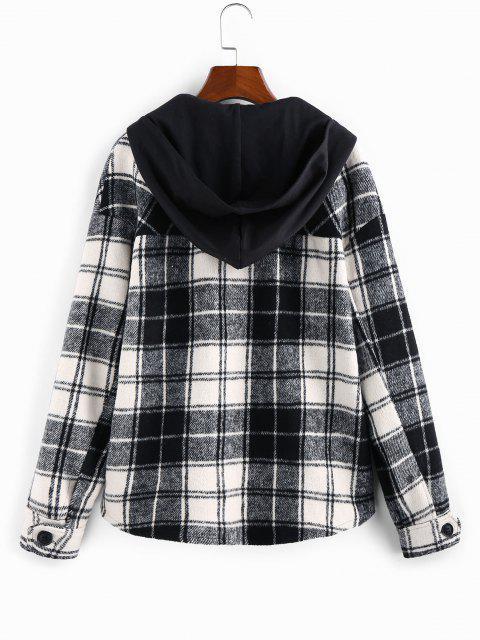 ZAFUL Detachable Hood Plaid Pocket Coat - أسود M Mobile