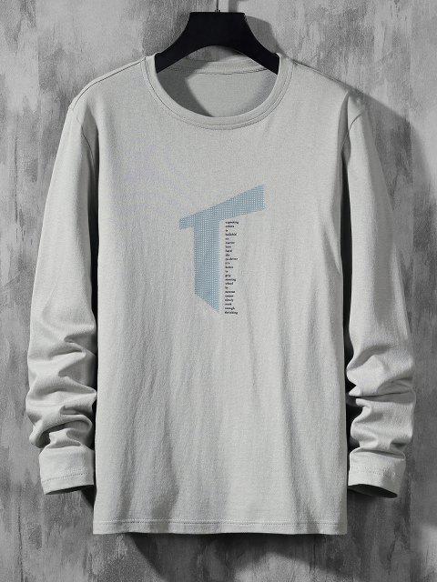 Letter Geometric Print Long Sleeve Casual T-shirt - اللون الرمادي S Mobile