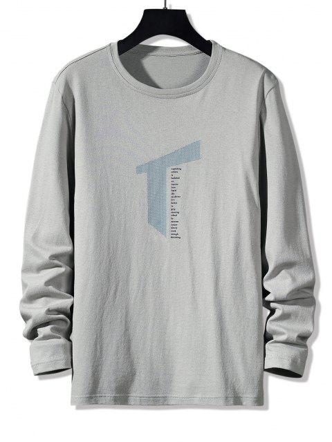 Letter Geometric Print Long Sleeve Casual T-shirt - اللون الرمادي M Mobile