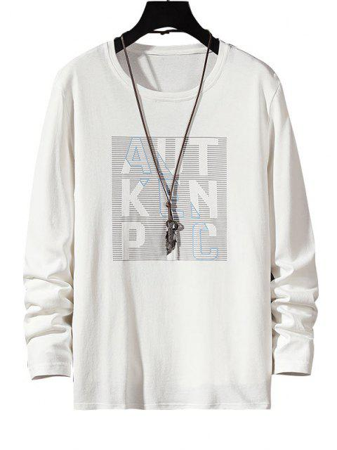 Camiseta Rayada Manga Larga Estampado Letras - Blanco S Mobile
